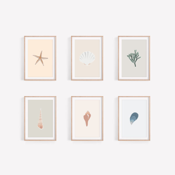 A mockup of 6 frames with 6 different seaside illustrations inside