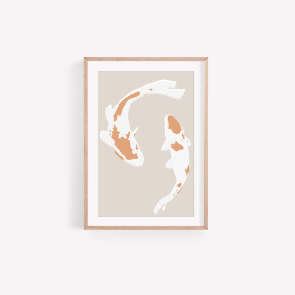 A framed print of 2 dancing Koi